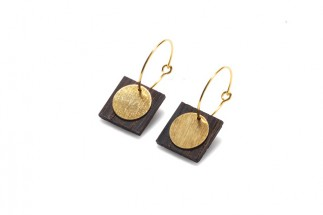 Earrings square w/circular pend. (Medium)