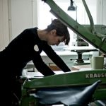 Bookbinder Klara K at work