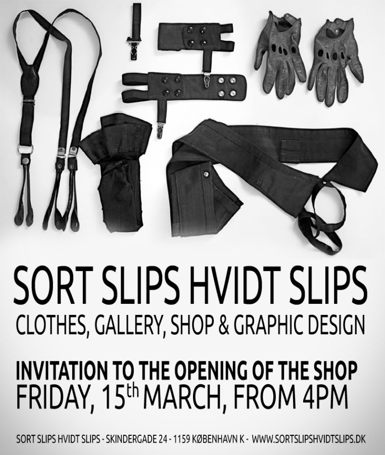 sort slips hvidt slips poster event invitation opening new store cphmade