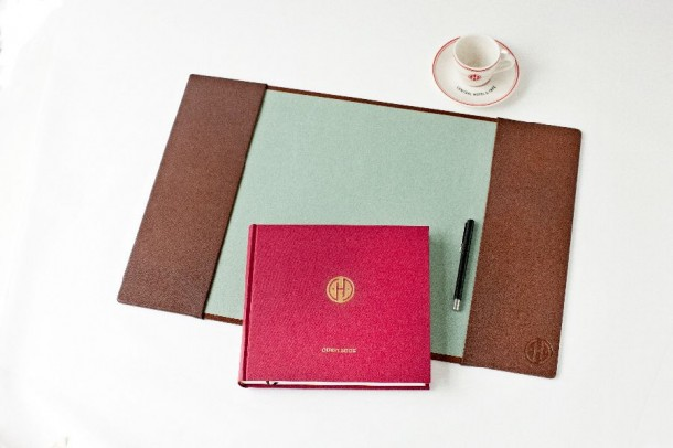 Guest book and blotting pad for the Central Hotel and Café on Tullinsgade. Photography by Jon Norstrøm