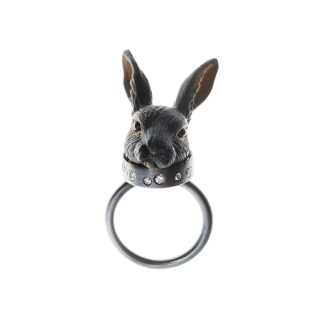 """Moon Rabbit"" - Oxidized silver ring by Mette Nordby Thomsen."